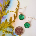 Dark Green and Sparkly Rose Gold Drops Finished in Resin
