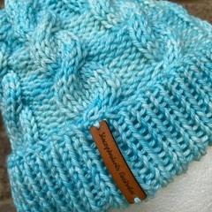 Handmade knitted aqua blue  cable beanie men's or ladies wool