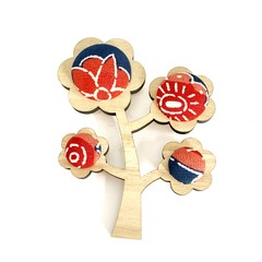 Kimono Tree Brooch - Blue and Red Florals