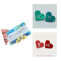 Resin Heartbeat Medical Stud Earrings