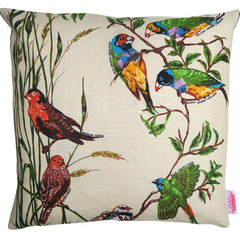 Vintage Retro Australian Finches Cushion
