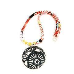 Kimono Necklace/Pendant - Black Florals