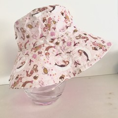 Girls summer hat in sweet mini mermaid fabric