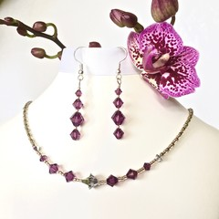 Swarovski Crystal Earring & Necklace Set: Linnea & L'Argent