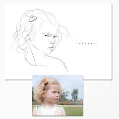 Portrait - Head & Shoulder  - Line Drawing - single subject