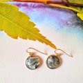 Black, silver and Gold in Rose Gold Round Drop Earrings