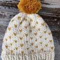Cream beanie mustard fair isle pompom chunky winter knit beanie