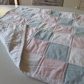 Pink Blue and White Baby or Adult Lap Quilt