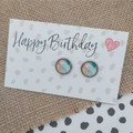 Glass dome stud earrings  - Pastal abstract
