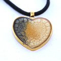 Hand Painted Black and Tan Heart Shaped Necklace