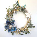 Peacock Blue & Gold Magnolia Christmas Wreath - Christmas Gift