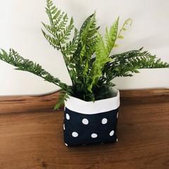 NAVY FABRIC BOX, teacher gift/planter