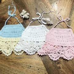 Crochet Baby Halter Crop Top, Handmade, Boho, Beach Wear,Cotton.