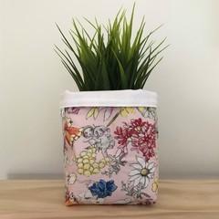 Small fabric planter | Storage basket | Pot cover | PINK GUMNUT BABIES