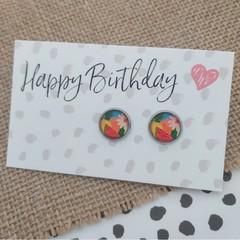 Glass dome stud earrings  - Colour burst