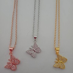 Butterfly crystal charm necklaces - gold silver and rose gold