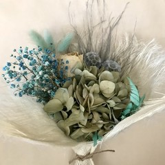 Blue Melody - Dry bouquet - Dried flowers - 30cm - Blue and cream