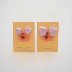 Lilac embossed polymer clay stud earrings