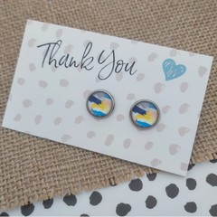 Glass dome stud earrings  - Bright abstract