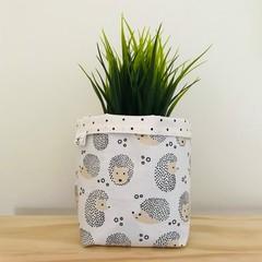 Small fabric planter | Storage basket | Pot cover | HEDGEHOG