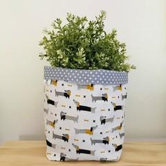Large fabric planter | Storage basket | Pot cover | DACHSHUND