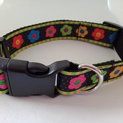 Bright flower print adjustable dog collars  medium / large