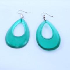 Translucent Green Hoop  Earrings