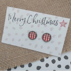 Glass dome stud earrings Red and white gingham