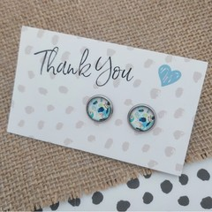 Glass dome stud earrings  - Blue abstract