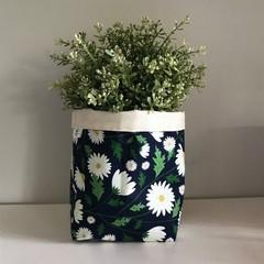 Large fabric planter | Storage basket | Pot cover | DAISIES