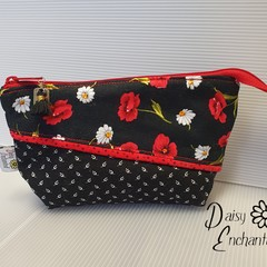 Black with Red and White Floral Pouch
