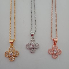 Four leaf clover crystal charm necklaces - gold silver and rose gold