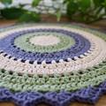 Lola Tri-colour Modern Crochet Round -Natural Sage - bedroom, side table, desk