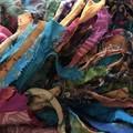 Recycled silk boho rainbow Scarf