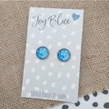 Glass dome stud earrings Blue and white flower print