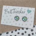 Glass dome stud earrings  -Blue and Green floral