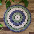Lola Tri-colour Modern Crochet Round -Natural Sage - bedroom, side table, desk