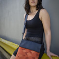 Satchel - Seed Pods  - Green and Indigo - Free Shipping