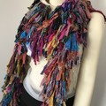 Recycled silk boho rainbow Scarf