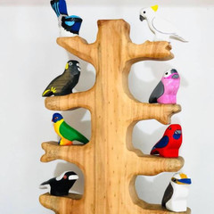 Wooden tree and 8 wooden native birds made in Australia Australian made eco frie
