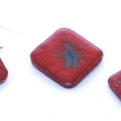 Hand Painted Red with Blueish Splash Modern Earrings and Pendant