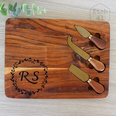 Personalised Acacia Cheese board set- See more designs