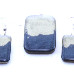 Hand Painted Silver and White Earrings and Pendant Set
