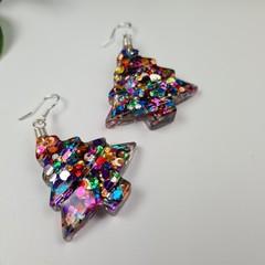 Celebration Spot Glitter Christmas Tree - Button - Glitter Dangle earrings
