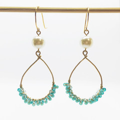 blue seed beads and peal earrings