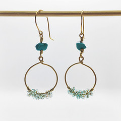 Turquoise stone Beads and blue seed beads earrings