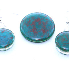 Hand Painted Blue with Reddish Centre  Pendant and Earrings