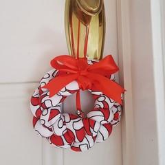 Braided Christmas Doorknob Wreath - Santa Hats