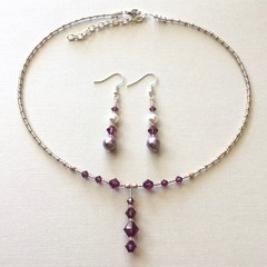 Swarovski Pearl Earring & Crystal Necklace Set: Lana & Landon