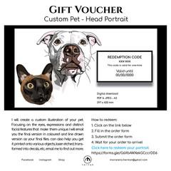 Custom Pet Head Coloured Portrait  | GIFT VOUCHER